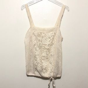 Anthro TINY sleeveless lace crocheted top floral